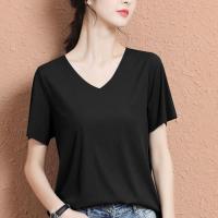 V Neck Solid Color Short Sleeves Top - Black
