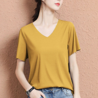 V Neck Solid Color Short Sleeves Top - Yellow