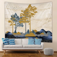 Home Decor Tree and Mountain Design Wall Hanging Tapestry
