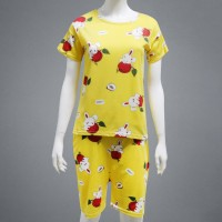 Solid Cute Pattern Short Sleeve Comfortable Two Piece Pajama Suit - Light Yellow