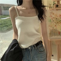 Ribbed Pattern Spaghetti Strap Casual Wear Top - White