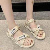 Velcro Closure Casual Wear Viintage Slipper Sandals - Apricot