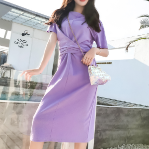 Round Neck Knotted Style Midi Dress - Purple