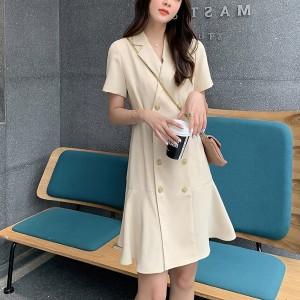 Suit Neck Short Sleeves A-Line Mini Dress - Beige