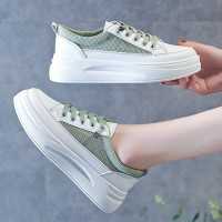 Lace Closure Mesh Flat Sole Casual Wear Sneakers - Green
