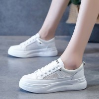 Lace Closure Mesh Flat Sole Casual Wear Sneakers - White