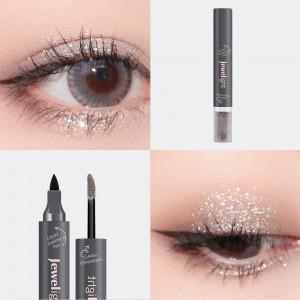 2 In 1 Pearl Liquid Eye Shadow Eyeliner - Black Gray