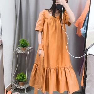 Square Neck Frilled Hem Summer Wear Dress - Orange