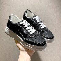 Synthetic Leather Colleage Wear Students Casual Wear Sneakers - Black