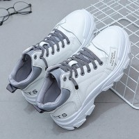 Boot Style Thick Bottom Lace Closure Sneakers - Gray