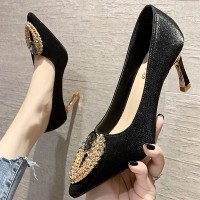 Spike Heel Pointed Decoratived Party Wear Heels - Black