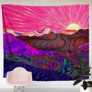 Home Decor Pink Mountain Design Wall Hanging Tapestry