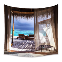 Home Decors Sea Outside Window Design Wall Hanging Tapestry
