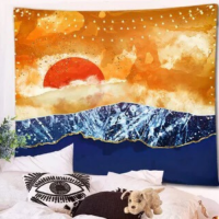 Home Decors Sun and Mountain Design Wall Hanging Tapestry