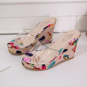 Check Printed Transparent Platform Casual High Heels - Khaki