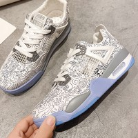 Boho Printed Lace Closure Soft Sole Sneakers - White