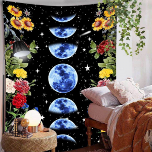 Home Decors Blue Moon and Floral Design Wall Hanging Tapestry