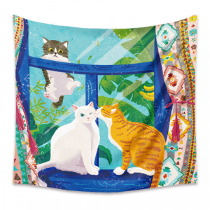 Home Cute Cats Design Wall Hanging Tapestry