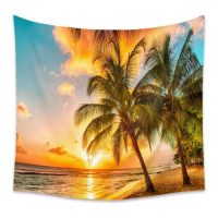 Home Sunset and Palm Tree Design Wall Hanging Tapestry