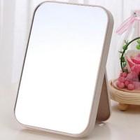 Makeup Grooming Fancy Plastic Easy Stand Mirror - Beige