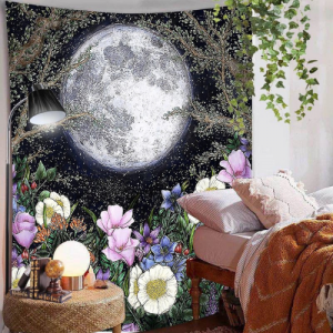 Home Decors Moon and Floral Design Wall Hanging Tapestry