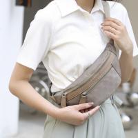 Zipper Closure Printed Fanny Pack Traveller Bags - Beige