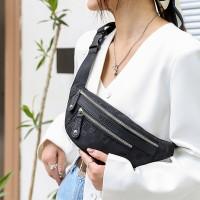 Zipper Closure Printed Fanny Pack Traveller Bags - Black