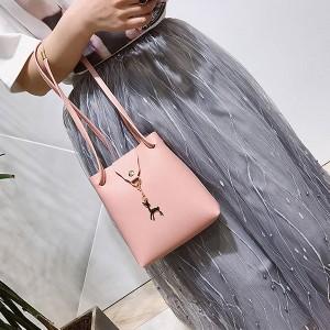 Women Shoulder Deer Bucket Messenger Bag - Pink