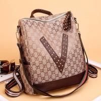 Printed Zipper Closure Women Fashion Fancy Backpacks - Coffee
