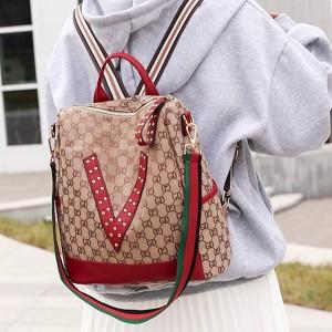 Printed Zipper Closure Women Fashion Fancy Backpacks - Red