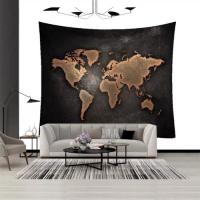 Home Decor Black Map Design Wall Hang Tapestry