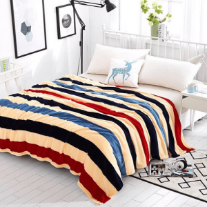 Striped Printed Design Double Size Fleece Blanket - Mixed Colorful