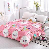 Bunny Design Double Size Fleece Blanket - Pink White