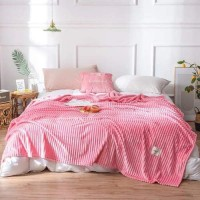 Plain Stripes Design Double Size Fleece Blanket - Hot Pink