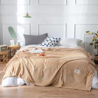 Plain Stripes Design Double Size Fleece Blanket - Khaki