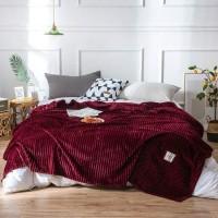 Plain Stripes Design Double Size Fleece Blanket - Burgundy