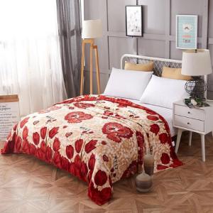 Floral Design Double Size Fleece Blanket - Dark Red
