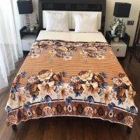 Floral Design Double Size Fleece Blanket - Dark Brown