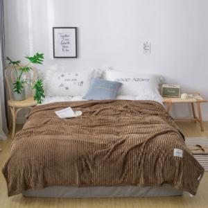 Plain Stripes Design Double Size Fleece Blanket - Brown