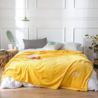 Plain Stripes Design Double Size Fleece Blanket - Canary Yellow