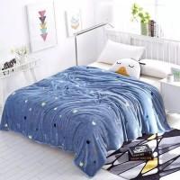 Crown Design Double Size Fleece Blanket - Light Blue