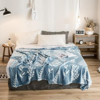 Leaves Design Double Size Fleece Blanket - Blue