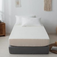 Single Size Plain 3 Pieces Fitted Sheet Set - Cream White