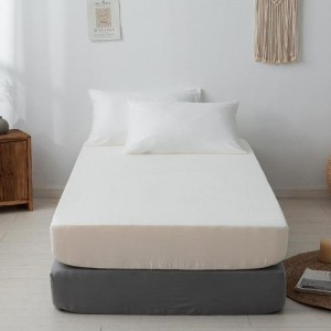 Single Size Plain 3 Pieces Fitted Bedsheet Set - Cream White