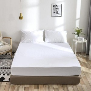 Queen Size Plain 3 Pieces Fitted Bedsheet Set - White Color