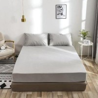 King Size Plain 3 Pieces Fitted Bedsheet Set - Light Gray Color