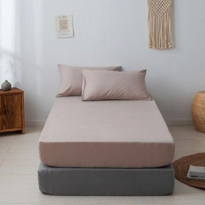 Single Size Plain 3 Pieces Fitted Bedsheet Set - Light Brown