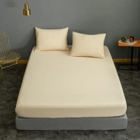 Double Size Plain 3 Pieces Fitted Sheet Set - Light Yellow