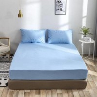 King Size Plain 3 Pieces Fitted Sheet Set - Light Blue