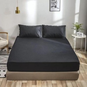 Double Size Plain 3 Pieces Fitted Sheet Set - Charcoal Black